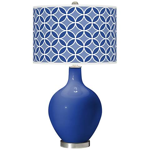 Dazzling Blue Circle Rings Ovo Glass Table Lamp