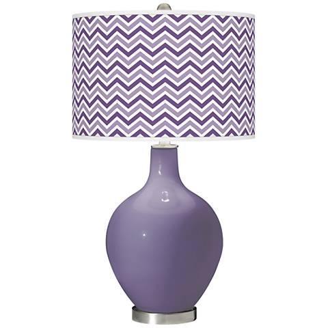 Purple Haze Narrow Zig Zag Ovo Glass Table Lamp