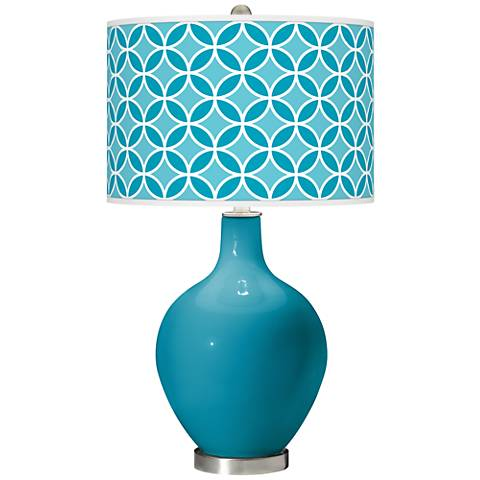 Caribbean Sea Circle Rings Ovo Glass Table Lamp