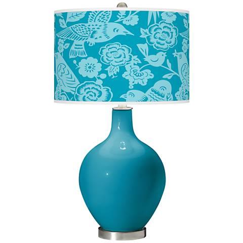 Caribbean Sea Aviary Ovo Glass Table Lamp