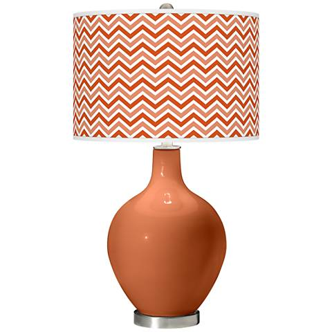 Robust Orange Narrow Zig Zag Ovo Glass Table Lamp