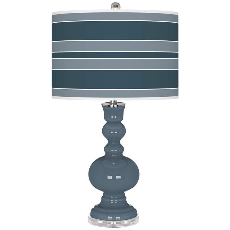 Smoky Blue Bold Stripe Apothecary Table Lamp