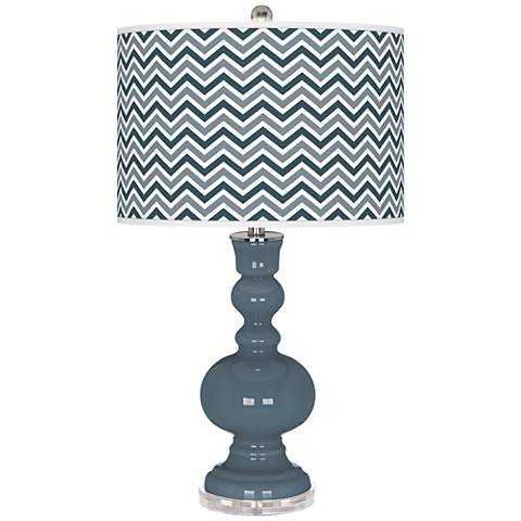 Smoky Blue Narrow Zig Zag Apothecary Table Lamp