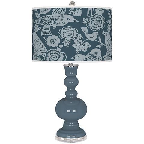 Smoky Blue Aviary Apothecary Table Lamp