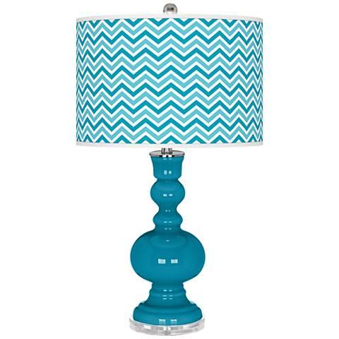 Caribbean Sea Narrow Zig Zag Apothecary Table Lamp