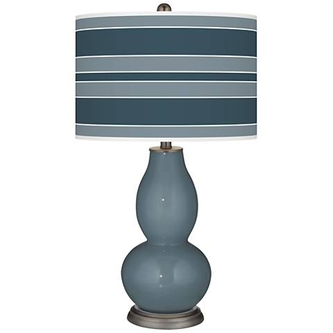 Smoky Blue Bold Stripe Double Gourd Table Lamp