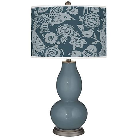 Smoky Blue Aviary Double Gourd Table Lamp
