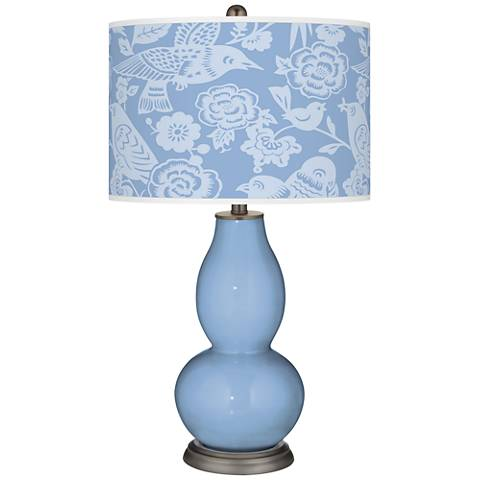 Placid Blue Aviary Double Gourd Table Lamp