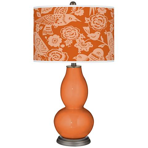 Celosia Orange Aviary Double Gourd Table Lamp