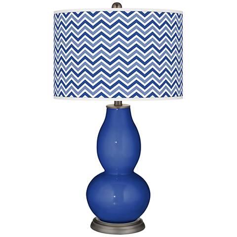Dazzling Blue Narrow Zig Zag Double Gourd Table Lamp