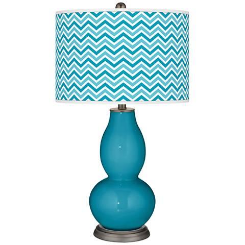 Caribbean Sea Narrow Zig Zag Double Gourd Table Lamp