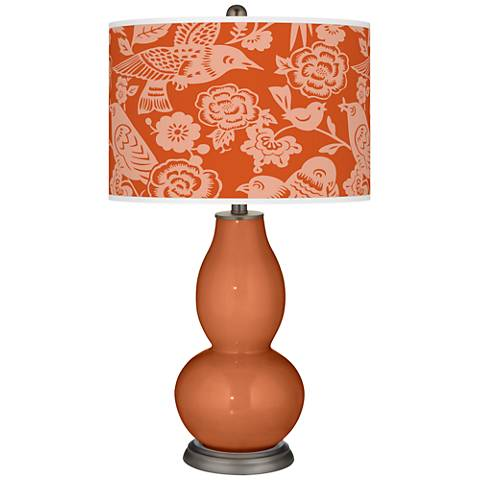 Robust Orange Aviary Double Gourd Table Lamp
