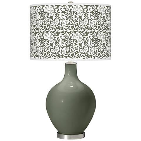 Deep Lichen Green Gardenia Ovo Table Lamp