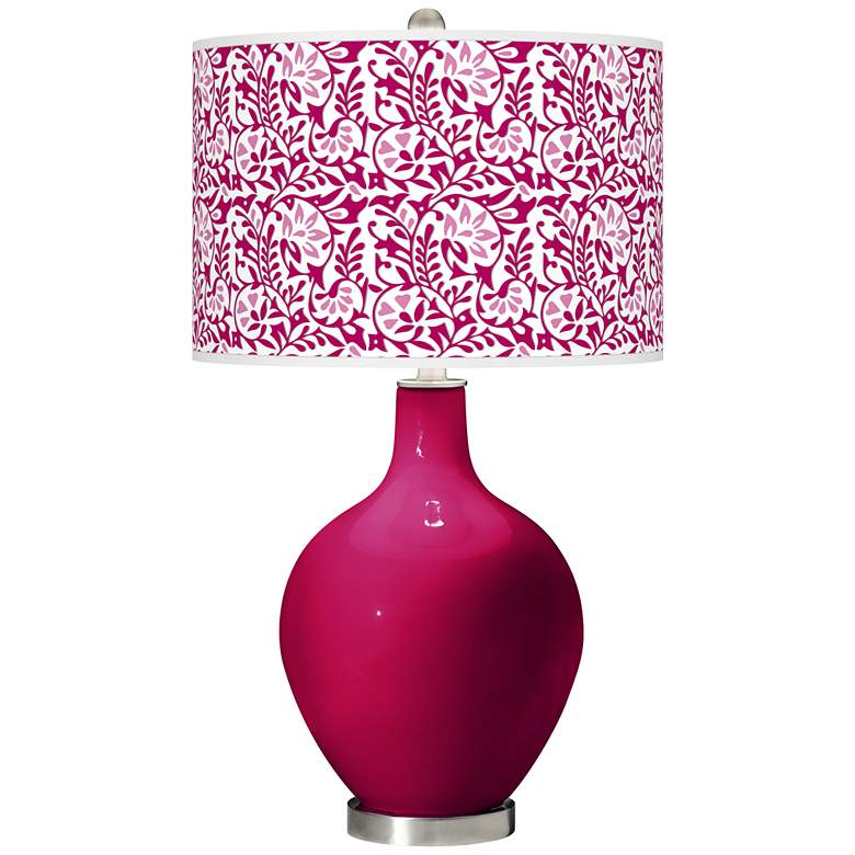 French Burgundy Gardenia Ovo Table Lamp