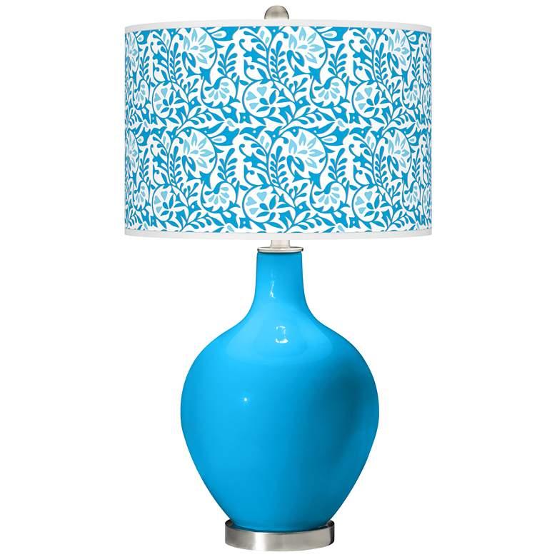 Sky Blue Gardenia Ovo Table Lamp