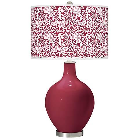 Antique Red Gardenia Ovo Table Lamp