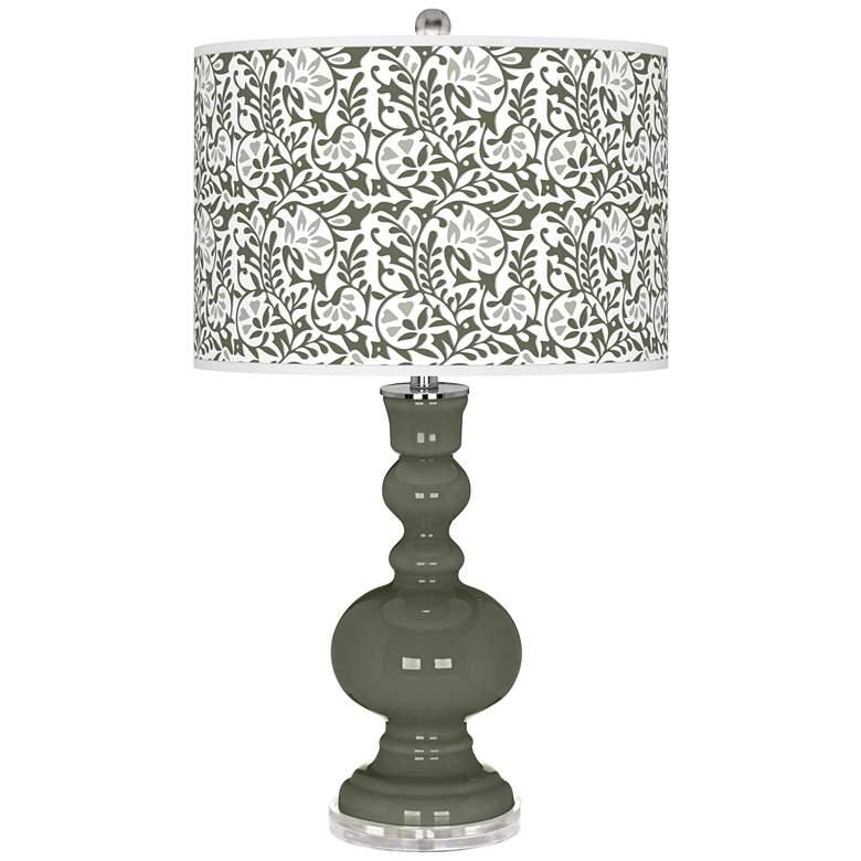 Deep Lichen Green Gardenia Apothecary Table Lamp