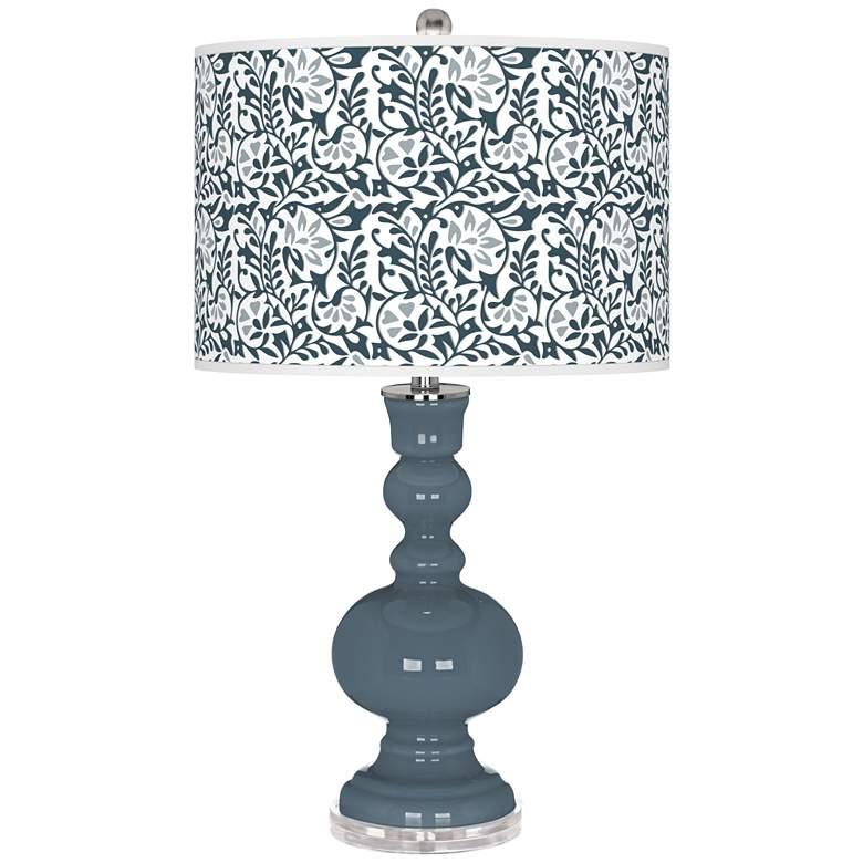 Smoky Blue Gardenia Apothecary Table Lamp
