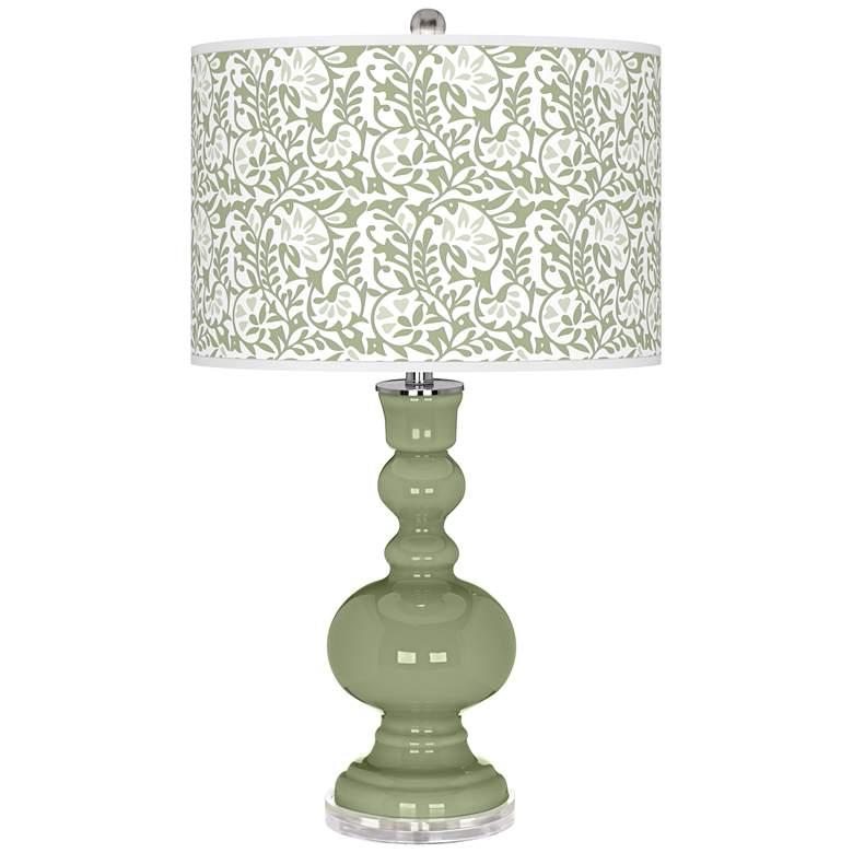 Majolica Green Gardenia Apothecary Table Lamp