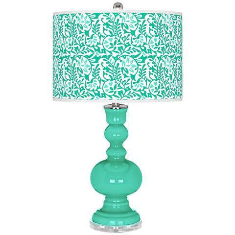 Turquoise Gardenia Apothecary Table Lamp