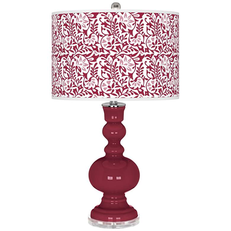 Antique Red Gardenia Apothecary Table Lamp