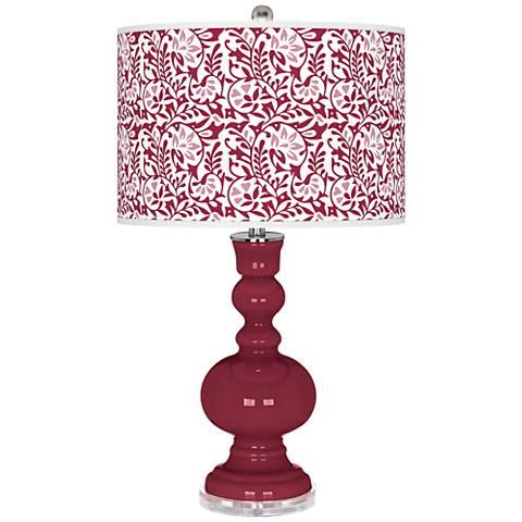 Antique Red Gardenia Apothecary Table Lamp