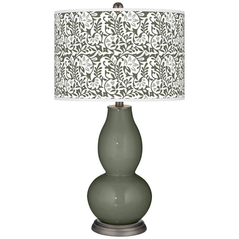 Deep Lichen Green Gardenia Double Gourd Table Lamp