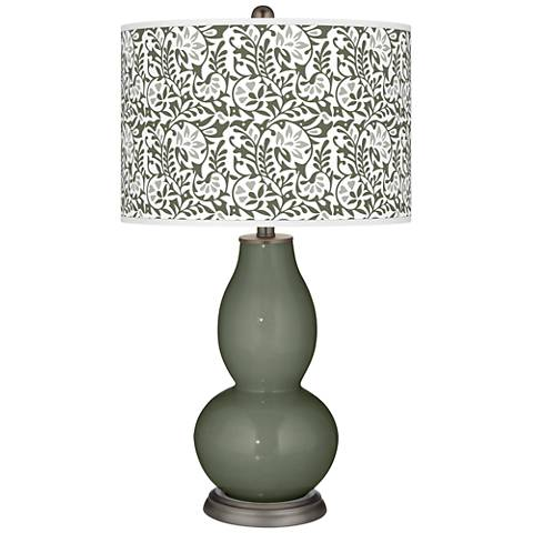 Deep Lichen Green Gardenia Double Gourd Table Lamp