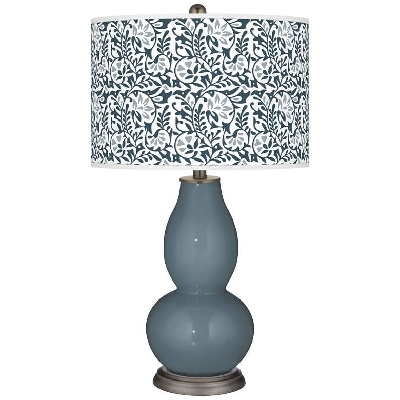 Smoky Blue Gardenia Double Gourd Table Lamp