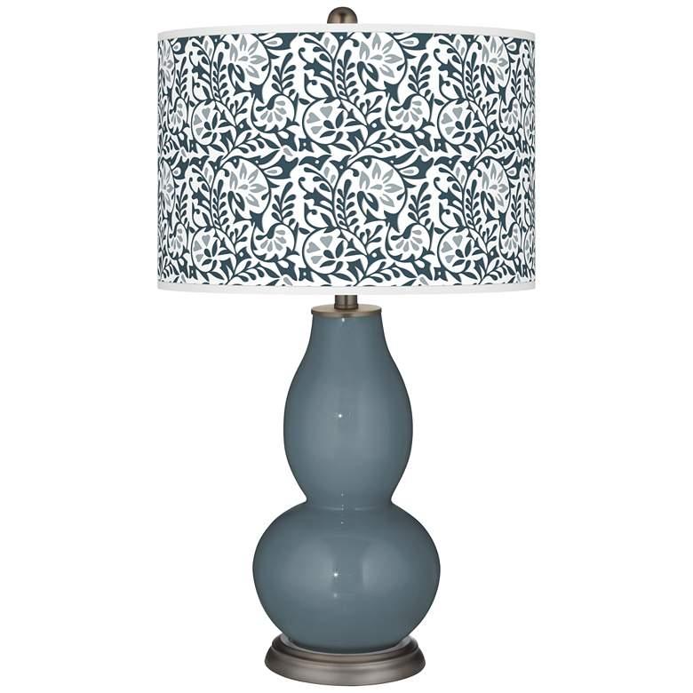 Smoky Blue Gardenia Double Gourd Table Lamp