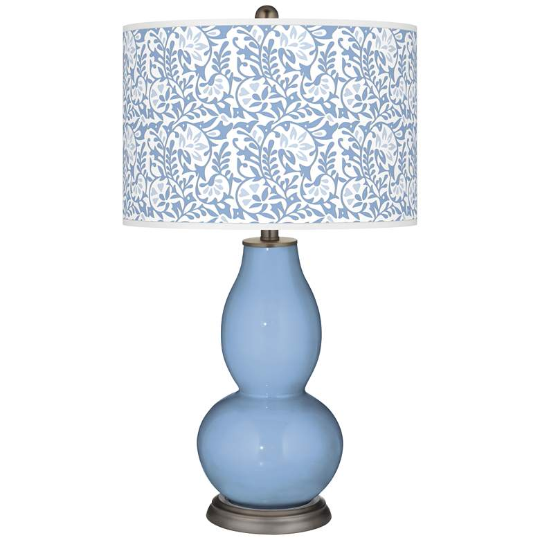 Placid Blue Gardenia Double Gourd Table Lamp
