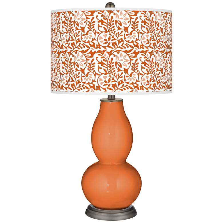 Celosia Orange Gardenia Double Gourd Table Lamp