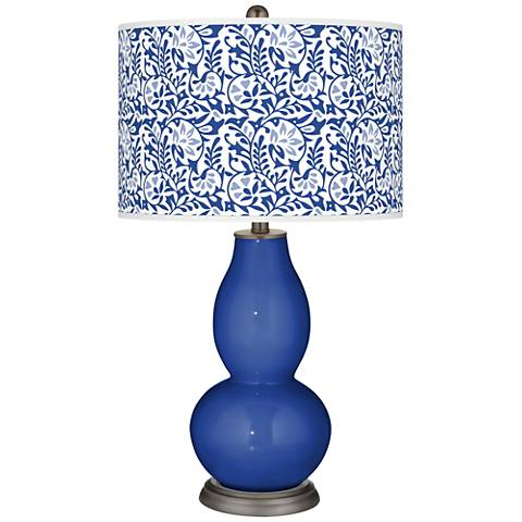 Dazzling Blue Gardenia Double Gourd Table Lamp