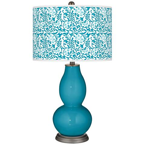 Caribbean Sea Gardenia Double Gourd Table Lamp