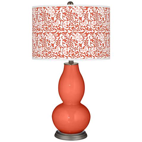 Daring Orange Gardenia Double Gourd Table Lamp