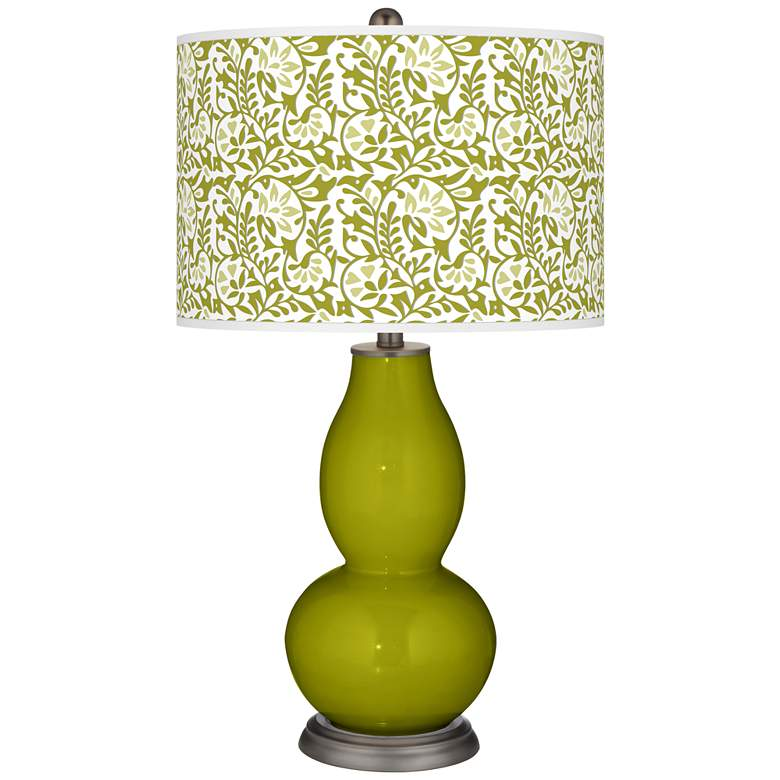 Olive Green Gardenia Double Gourd Table Lamp