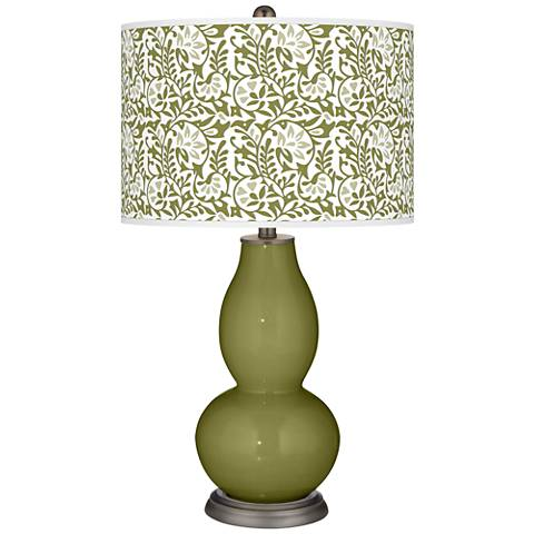 Rural Green Gardenia Double Gourd Table Lamp
