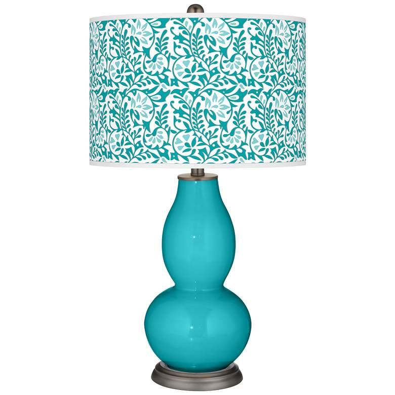 Surfer Blue Gardenia Double Gourd Table Lamp