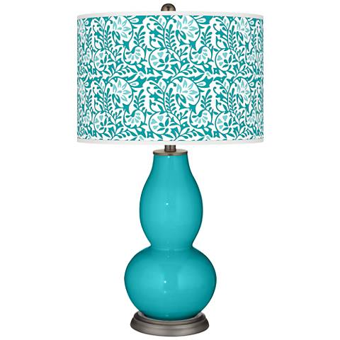 Surfer Blue Gardenia Double Gourd Table Lamp