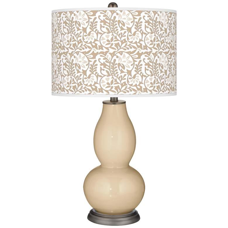 Colonial Tan Gardenia Double Gourd Table Lamp