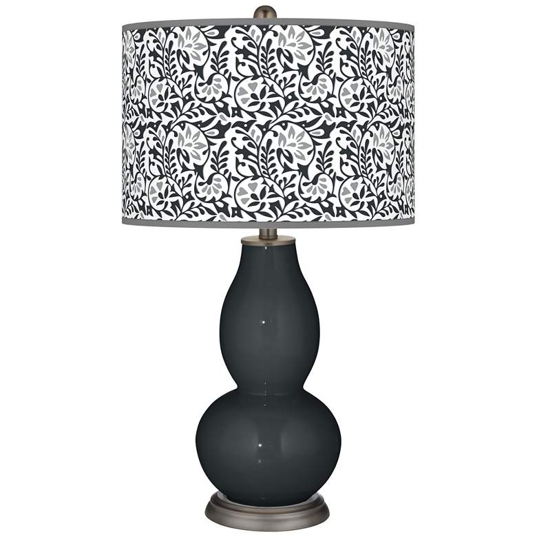 Black of Night Gardenia Double Gourd Table Lamp