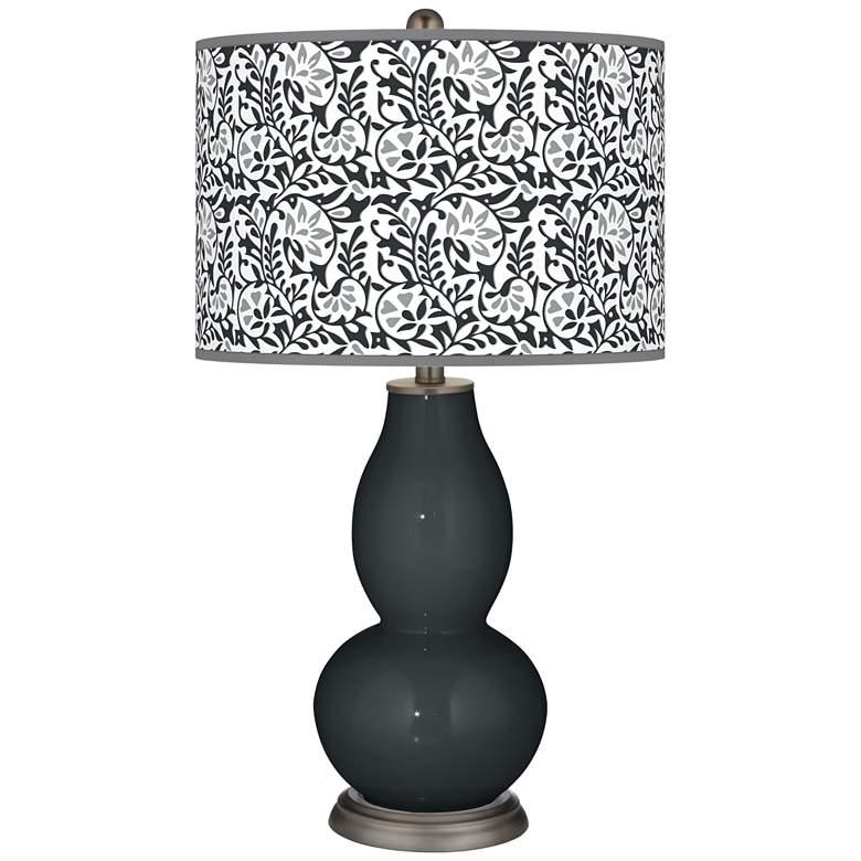 Black of Night Gardenia Double Gourd Table Lamp