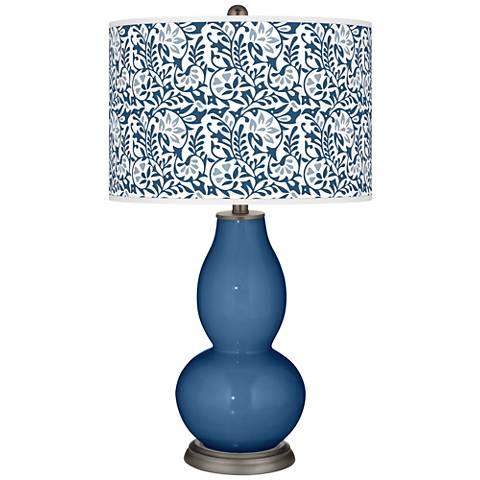 Regatta Blue Gardenia Double Gourd Table Lamp
