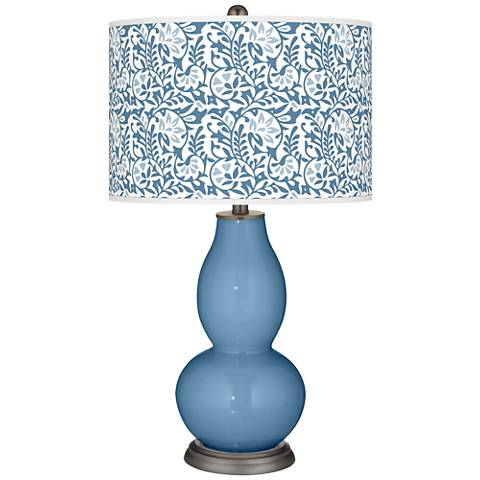 Secure Blue Gardenia Double Gourd Table Lamp