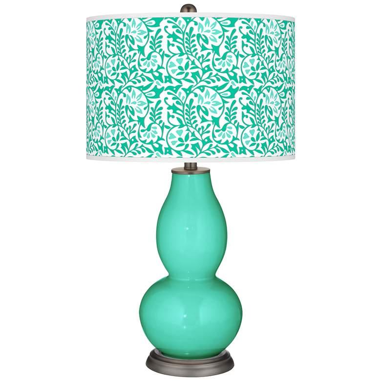 Turquoise Gardenia Double Gourd Table Lamp