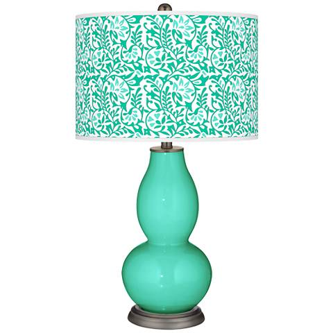 Turquoise Gardenia Double Gourd Table Lamp