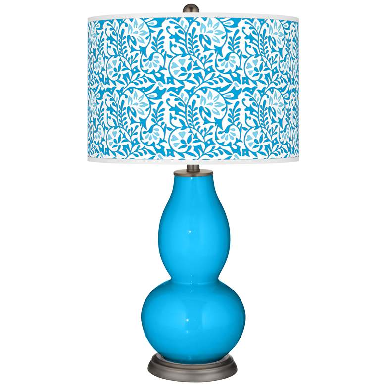Sky Blue Gardenia Double Gourd Table Lamp