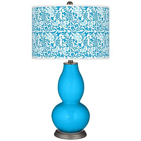 Sky Blue Gardenia Double Gourd Table Lamp