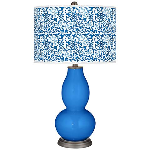 Royal Blue Gardenia Double Gourd Table Lamp