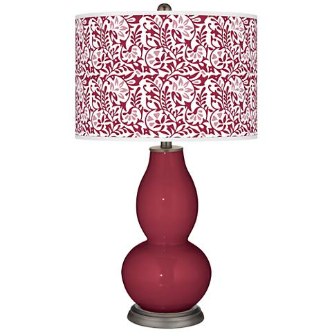 Antique Red Gardenia Double Gourd Table Lamp